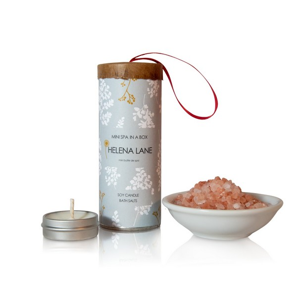 Mini spa in a box soy candle bath salts